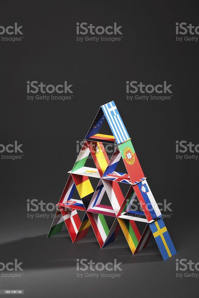 European Debt Crisis House of Cards Vt royalty-free stock photo