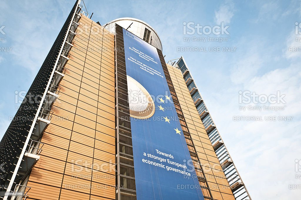 European Economic Issues Ads, Brussels stock photo