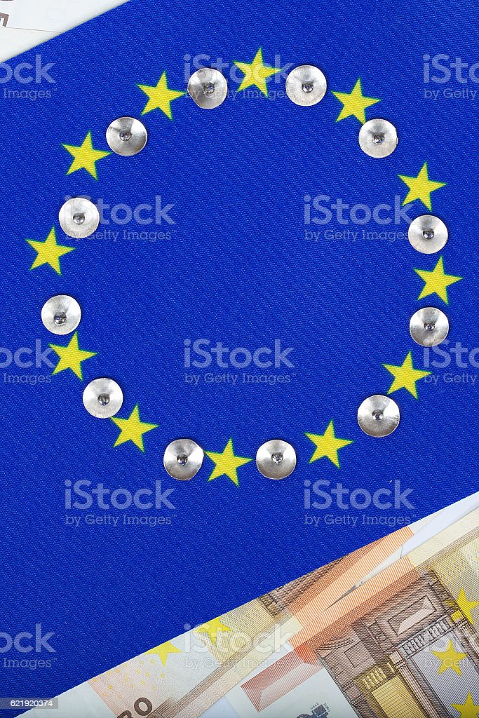 European flag and currency.Background stock photo
