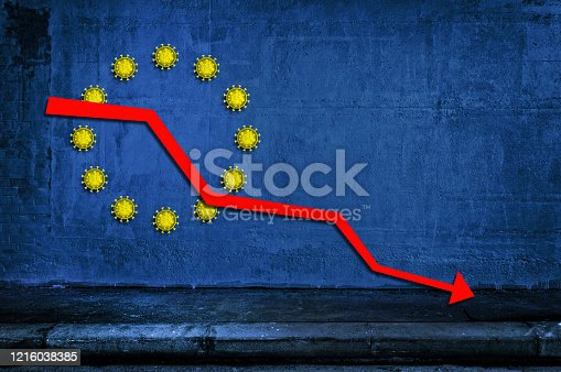 European flag background with coronavirus icons instead of the yellow stars and red downtrend arrow. Concept of european economic crisis.