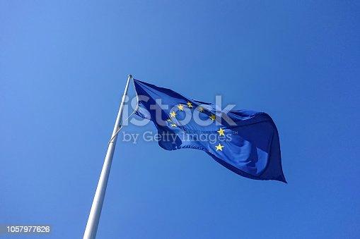 istock European flag blowing waving in wind 1057977626