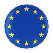 European Flag Button - Flag of Europe Badge 3D Illustration