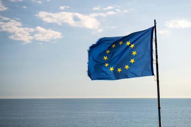 European Flag by the sea in Manarola