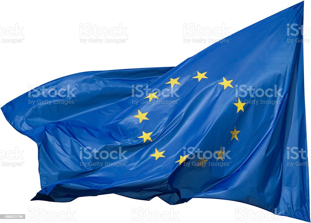 European Flag in the Wind stock photo