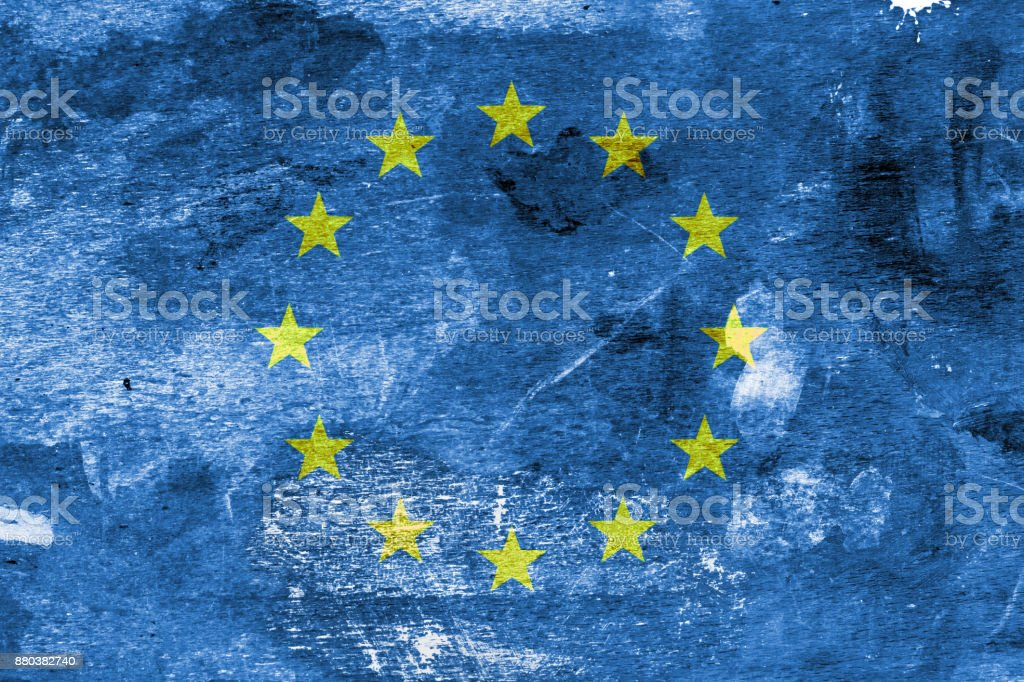 European Flag on a Paint Stained Background stock photo