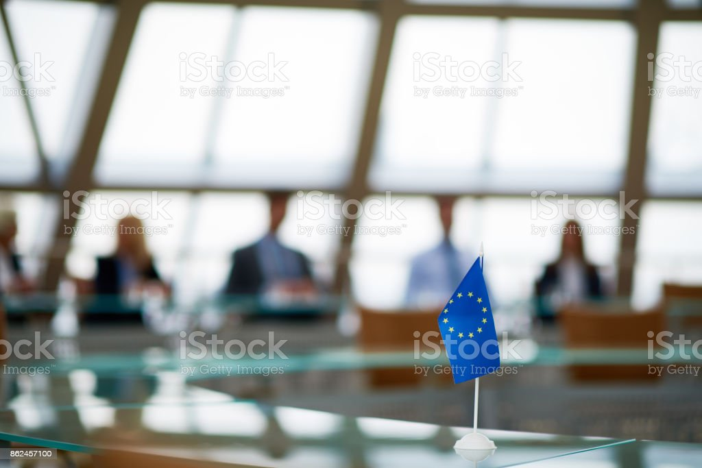 European flag on board table stock photo