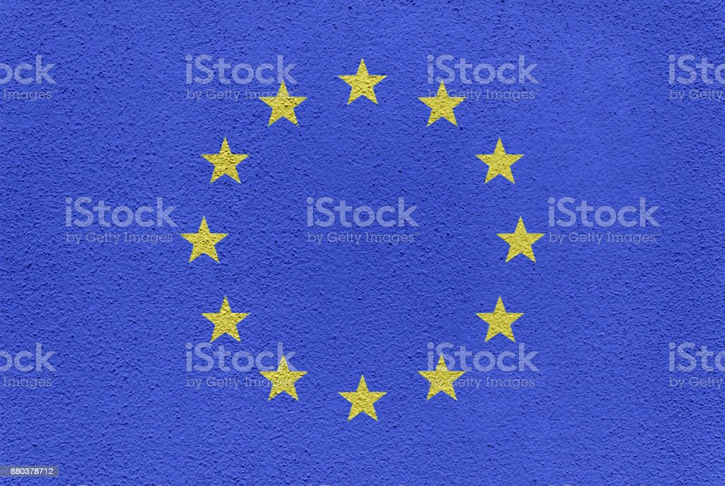 European Flag Painted on an Exterior Wall stock photo