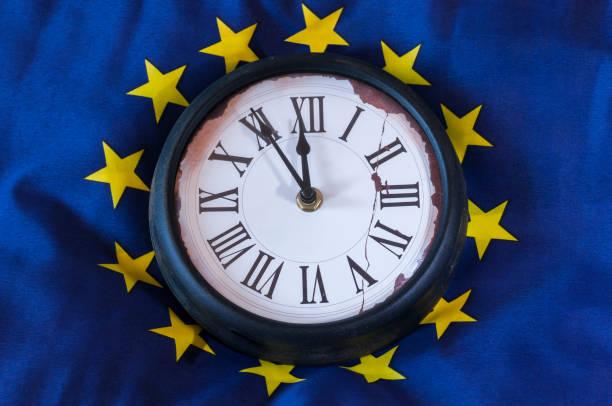 European flag with clock stock photo