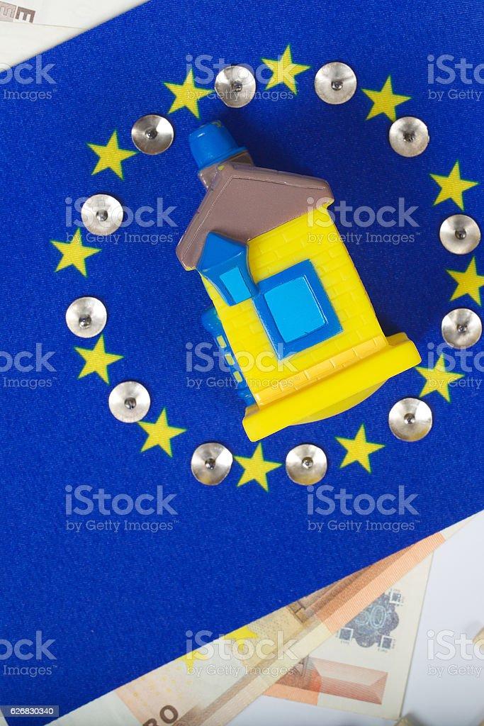 European flag,rubber house,pins stock photo
