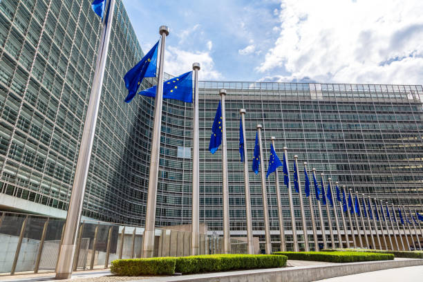 European flags  in Brussels European flags in front of  headquarters of European commission in Brussels in summer day european commission stock pictures, royalty-free photos & images