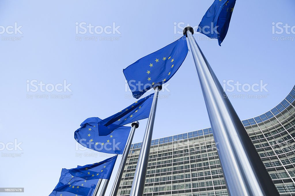 European flags in front of the Berlaymont building in Brussels royalty-free stock photo