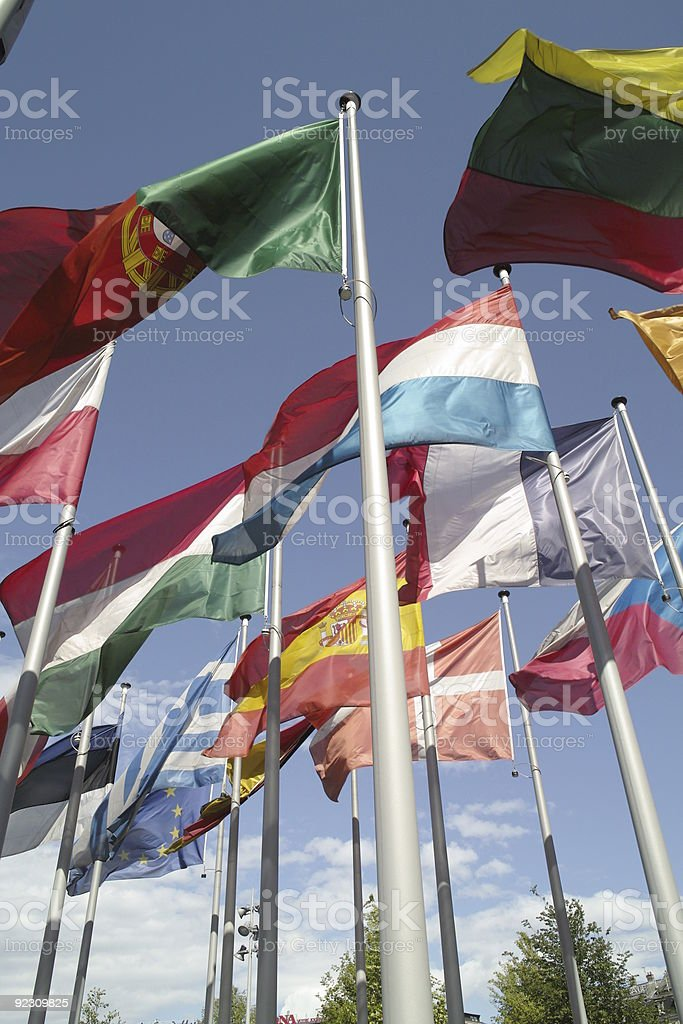 european flags in wind with blue sky royalty-free stock photo