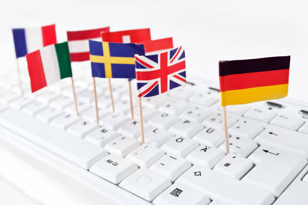 European flags on a keyboard stock photo