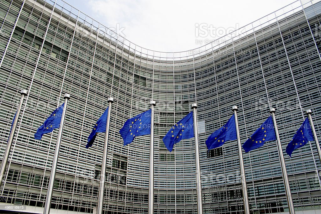 european flags waving in Brussels royalty-free stock photo