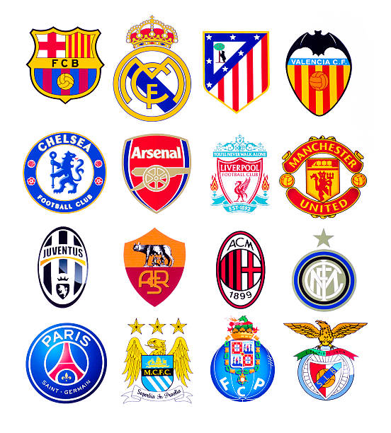 European football clubs Kiev, Ukraine - September 22, 2015: European football clubs logo printed on paper. insignia stock pictures, royalty-free photos & images