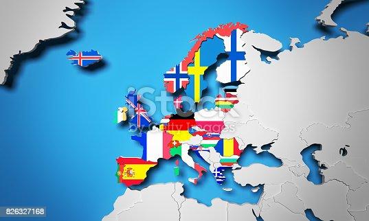 istock European Free Trade Association EFTA 3d render in map 826327168