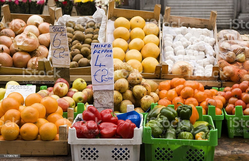 European Fruit and Vegetable Stand royalty-free stock photo