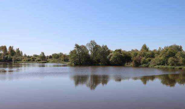 European lake, summer landscape. stock photo