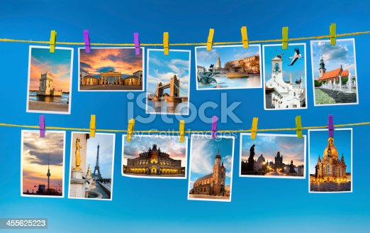 Collage with postcards of european landmarks on blue background