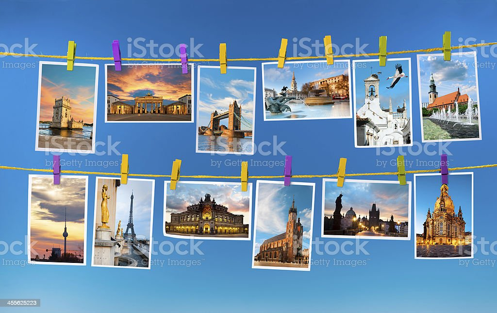 European landmarks, collage stock photo