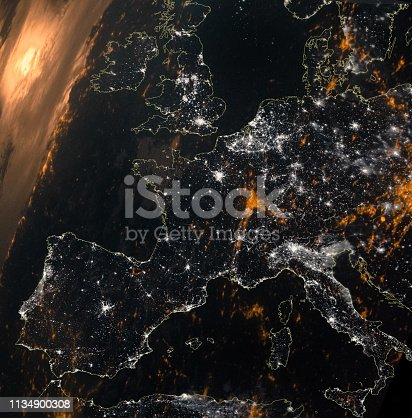 European map composition space view. Night illumination from city lights. Elements of this image furnished by NASA  /urls: https://earthobservatory.nasa.gov/images/144603/a-break-in-the-clouds-for-europe, https://images.nasa.gov/details-GSFC_20171208_Archive_e001240.html /