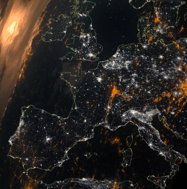 european map composition space view. night illumination from city lights. elements of this image furnished by nasa - cartina italia foto e immagini stock