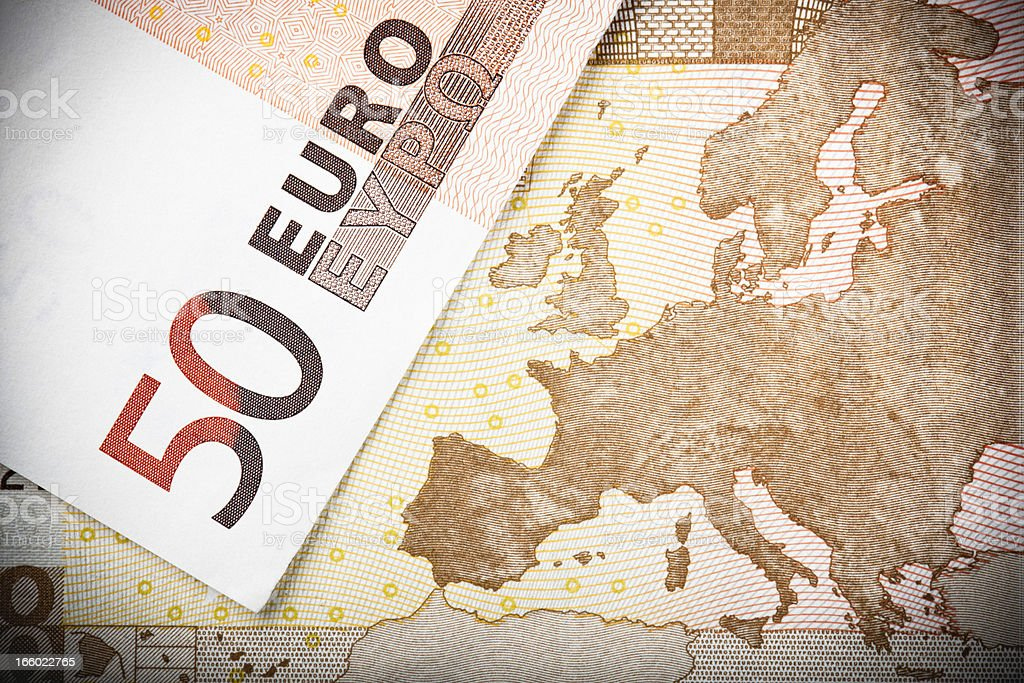 European Map on €50 Note stock photo
