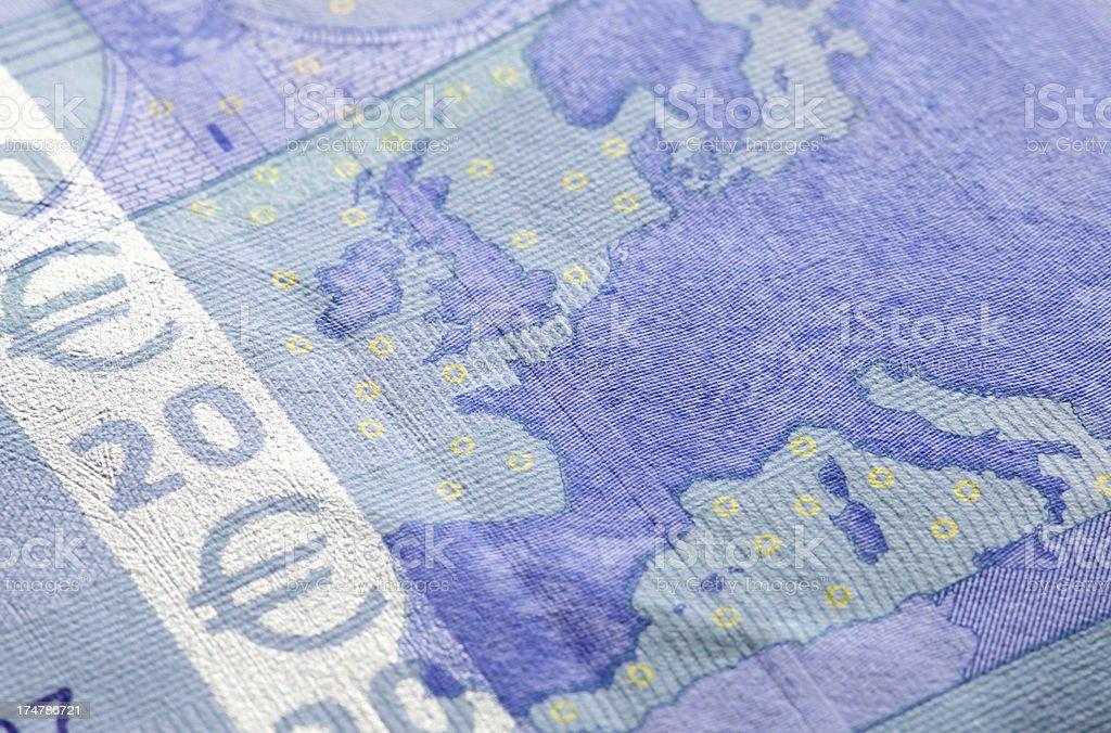 European map on Euro note royalty-free stock photo