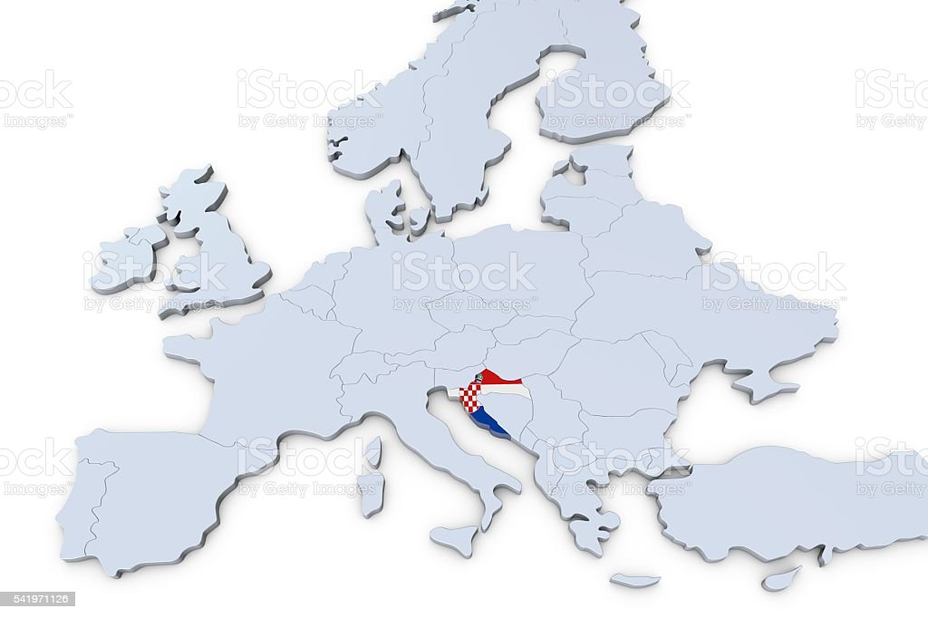 European Map With Croatia Highlighted Stock Photo More Pictures Of