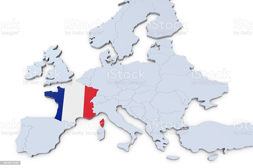 Map Of Europe France.European Map With France Highlighted Stock Photo Download Image