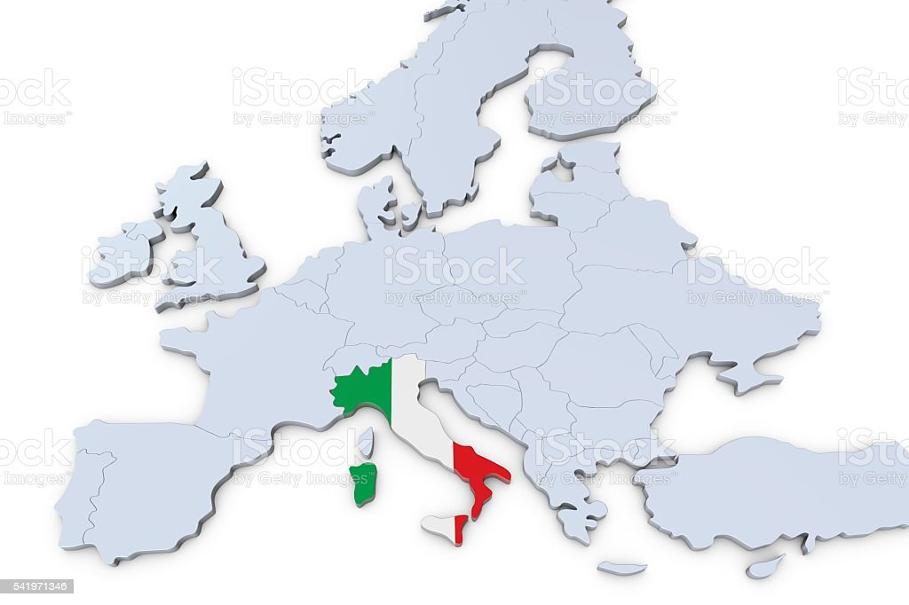 European Map With Italy Highlighted Stock Photo More Pictures Of