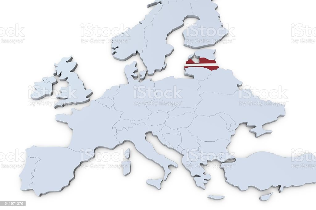 European map with Latvia highlighted stock photo