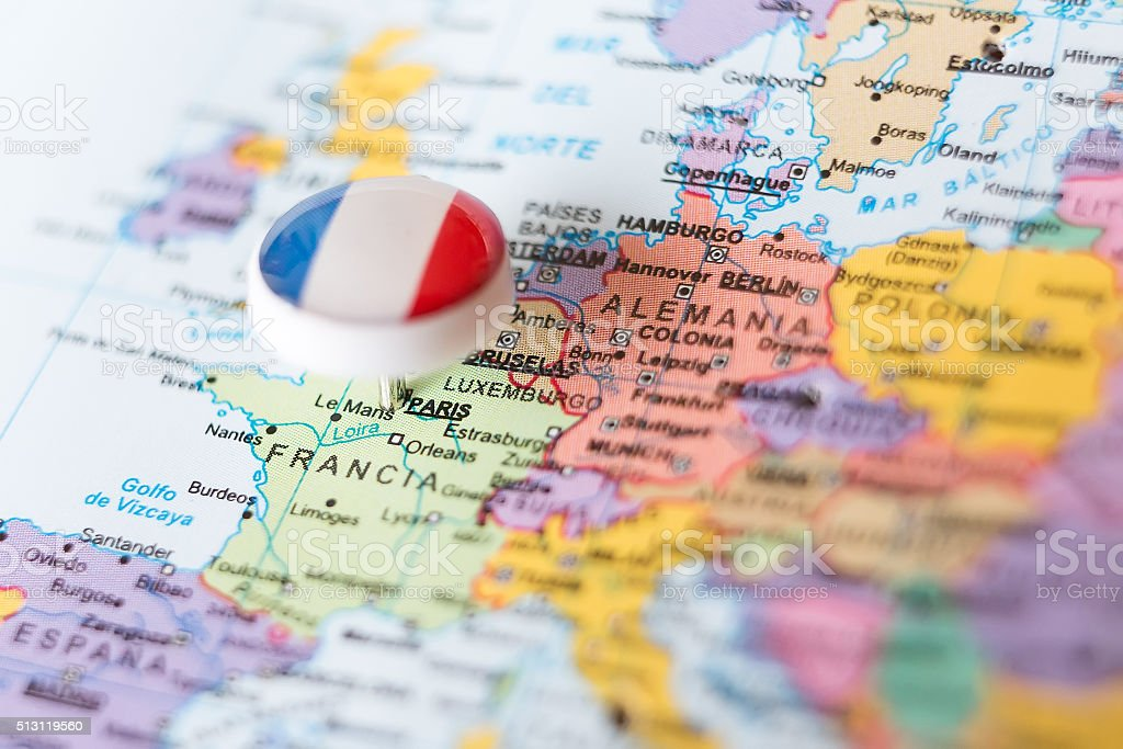 European map with pin pointing paris stock photo more pictures of european map with pin pointing paris royalty free stock photo gumiabroncs Image collections
