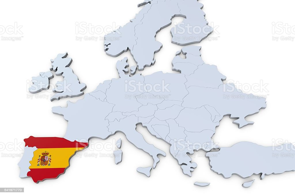 European Map With Spain Highlighted Stock Photo More Pictures of