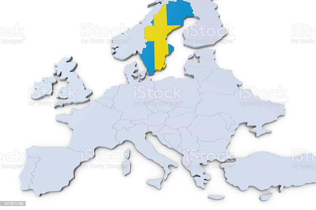 European Map With Sweden Highlighted Stock Photo More Pictures of