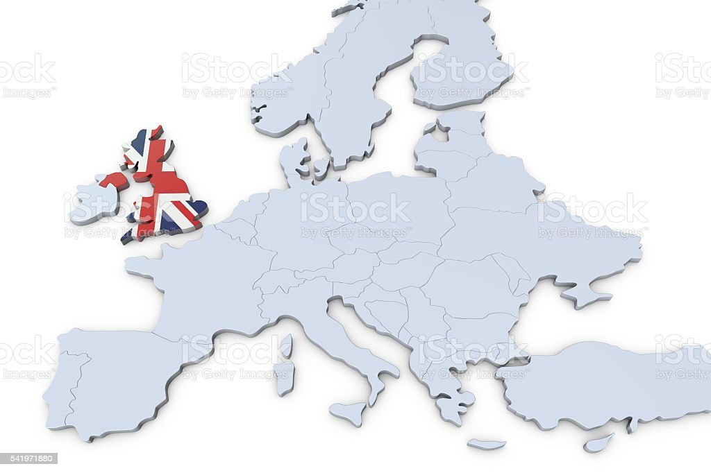 Map Of Uk In Europe.European Map With Uk Highlighted Stock Photo Download Image Now