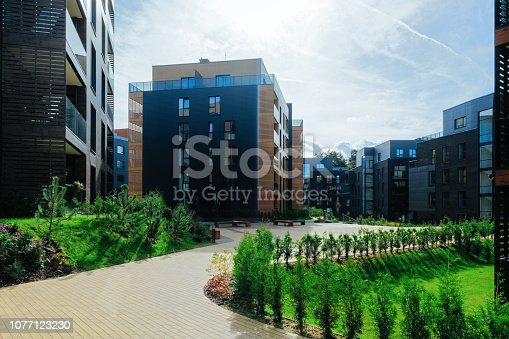 949087660 istock photo European Modern residential apartment buildings complex 1077123230