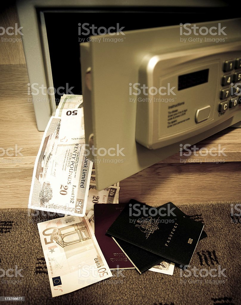 European Money and passports falling from hotel safe royalty-free stock photo