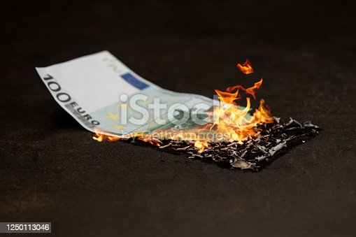 One hundred euro banknote in fire. Stock market crush concept.