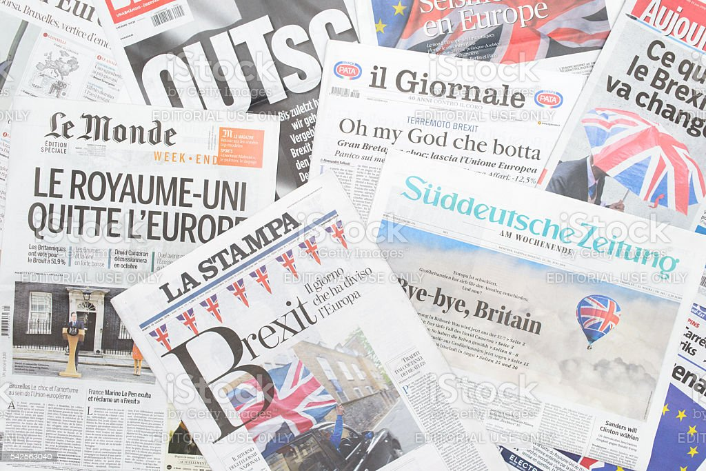 European newspapers react to Brexit vote stock photo
