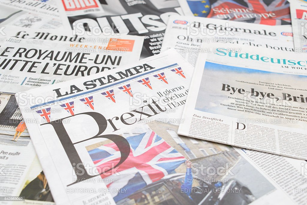 European newspapers react to Brexit vote royalty-free stock photo