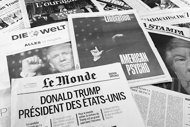 european newspapers react to donald trump election - trump stockfoto's en -beelden