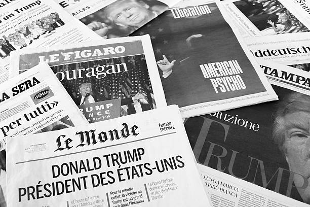 European Newspapers React to Donald Trump Election Antibes, France - November 10, 2016: European newspapers react to the election of Donald Trump as President of the United States of America. front page stock pictures, royalty-free photos & images