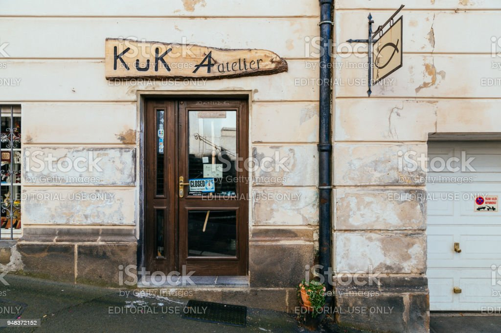 European old shop exterior in Karlovy Vary, Czech stock photo