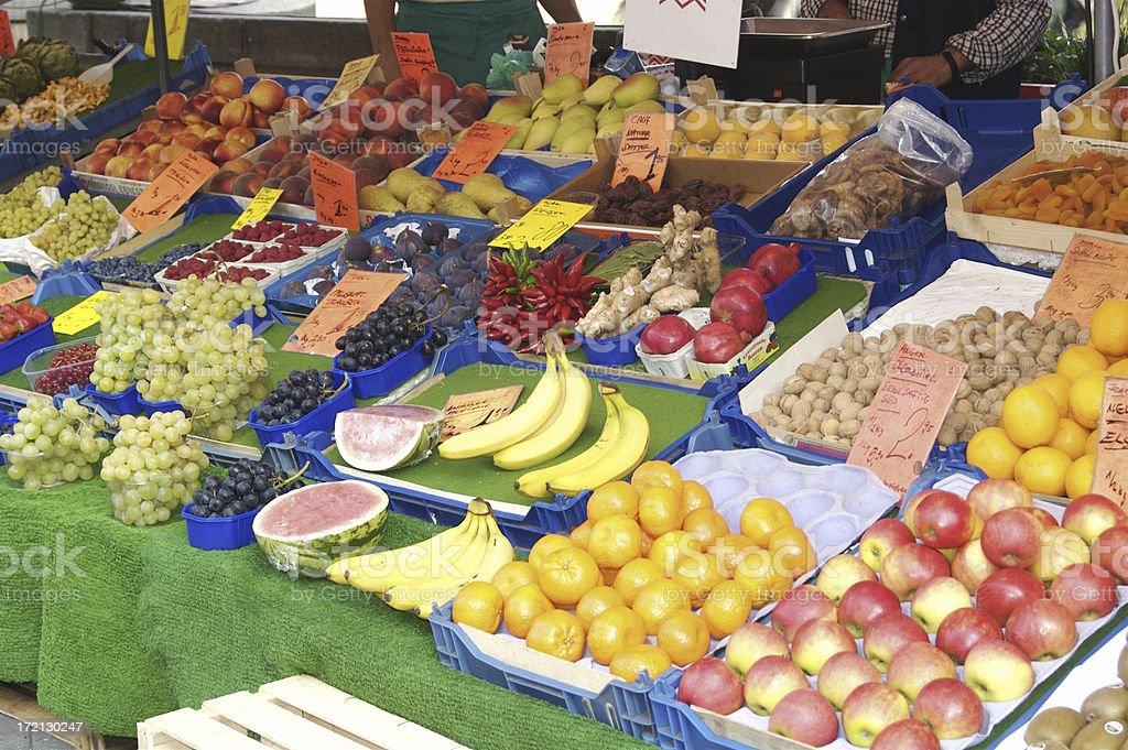 European Outdoor Fruit Market royalty-free stock photo