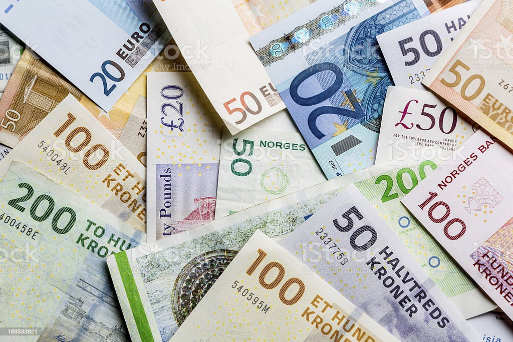 European Paper Currency, Kroners, Pounds and Euros in a Pile stock photo