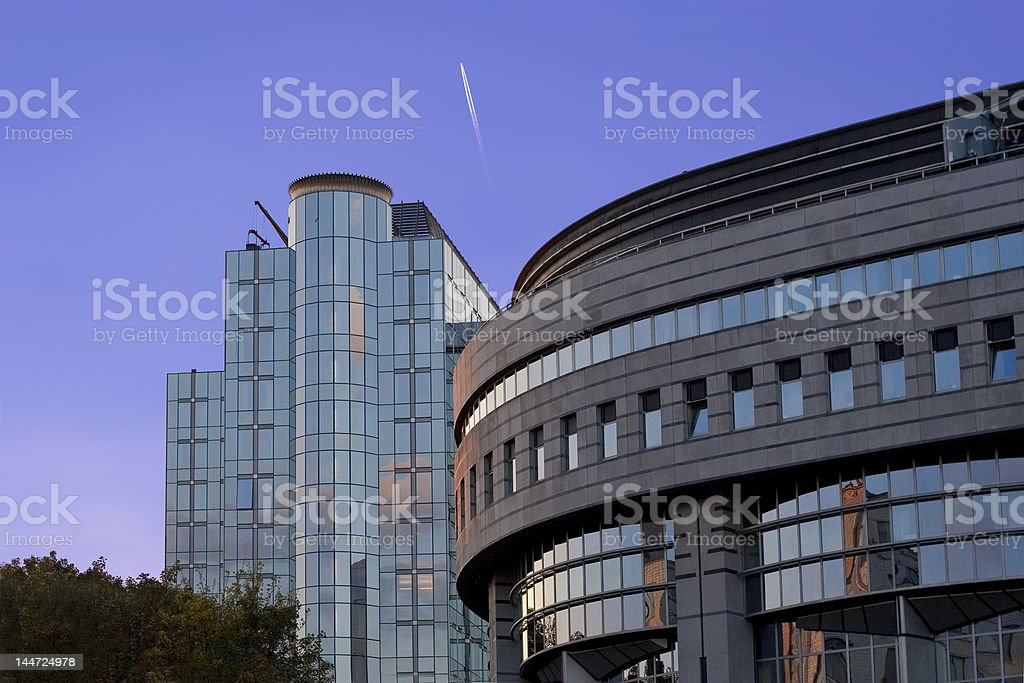 european parlament building on a sunset royalty-free stock photo