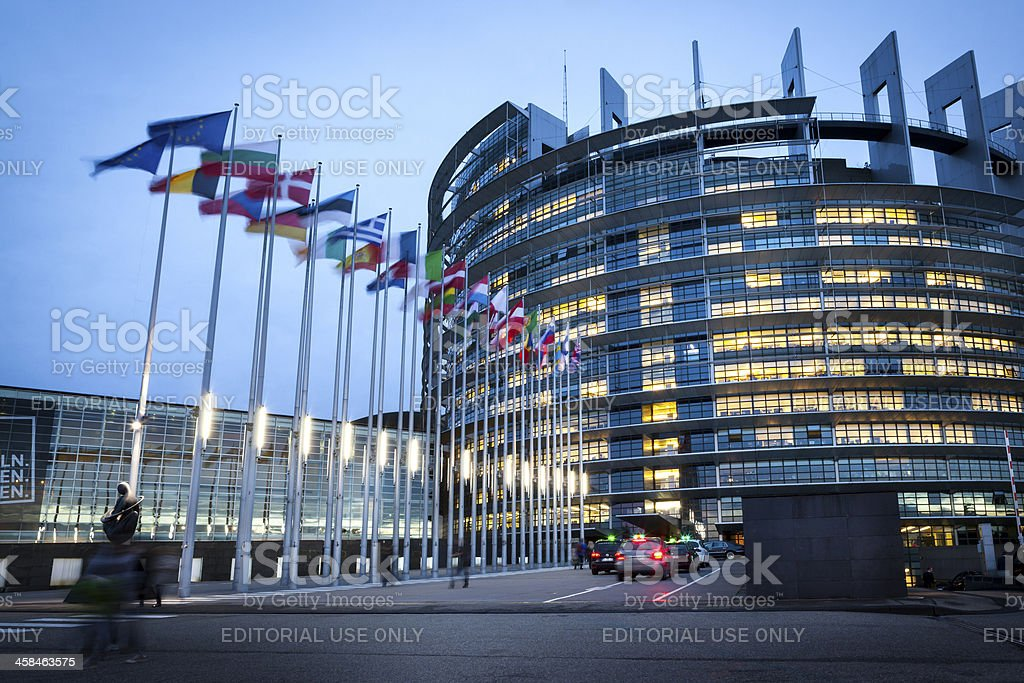 European Parliament at dusk, Strasbourg, France stock photo