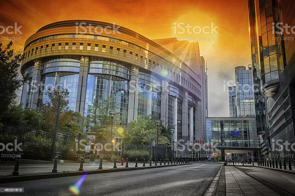 European Parliament building at sunset. Brussels, Belgium stock photo