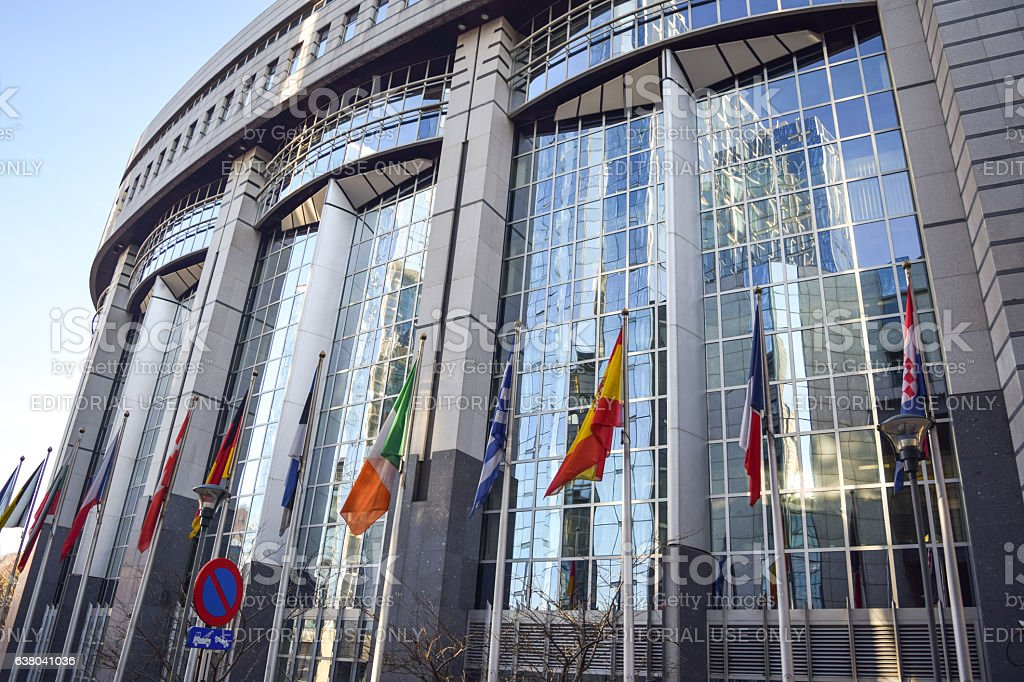 Brussels, Belgium - December 30, 2016: European Parliament building exterior - foto de stock